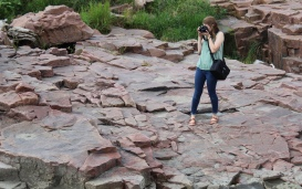 Augustana junior Katie Wright practices outdoor photography for photojournalism.