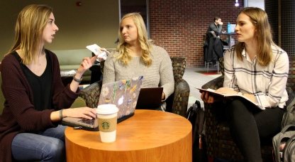 Augustana sophomores Ruby Evans, Meleah Gunderson and Madison Feist study in the Siverson Lounge.