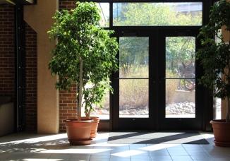 Sunlight streams into the Augustana Humanities atrium.