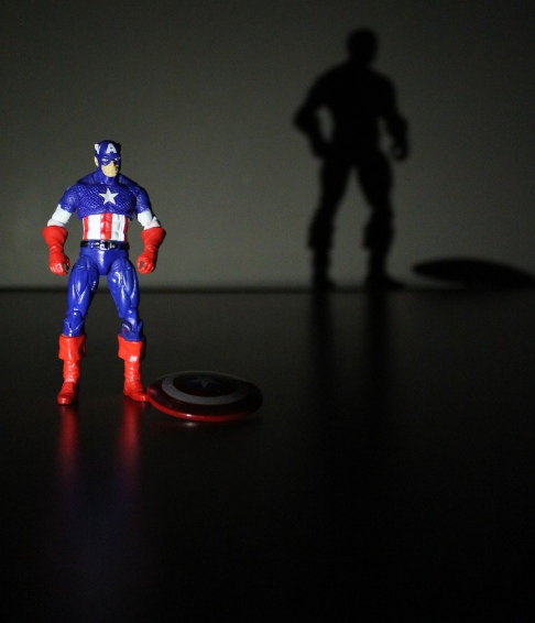 Captain America poses for a photo.